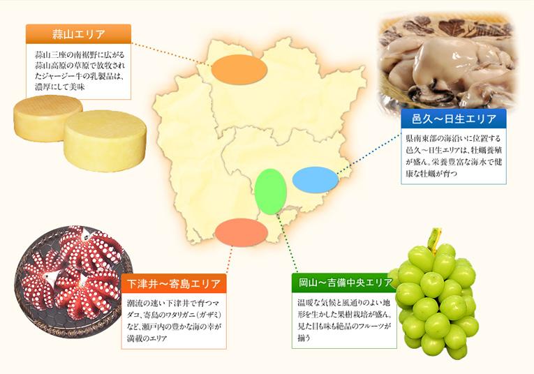雨天の日が全国で最も少なく、温暖な気候から「晴れの国」と呼ばれる岡山県。 北部には緑深い中国山地が、中部にはなだらかな吉備高原が、 そして南部には肥沃な平野と穏やかな瀬戸内海が広がり、 変化に富んだ自然環境から豊かな海・山・里の幸が揃います。そして、より美味で品質の優れたものを求めて栽培・生産技術を磨き、品種改良を重ねてきた生産者たちのたゆまぬ努力が、 岡山の食材・食品をキラリと光る逸品に育て上げました。国内のみならずアジアの富裕層からも高級輸入フルーツとして 注目を集めているぶどう・白桃などの果物をはじめ、国内最大のジャージー牛酪農地帯である蒜山高原で作られた乳製品、 タコや牡蠣に代表される瀬戸内の新鮮な魚介類など、岡山のもんげー旨いもんの数々をご紹介します。(※「もんげー」とは、岡山弁で「ものすごく」の意味)
